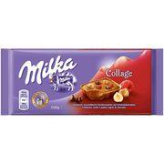 Шоколад с кусочками малины шоколада орехов Milka Collage Fruit 93 гр, фото 1
