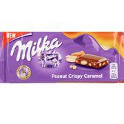 Молочный шоколад с арахисом и кусочками карамели Milka Peanut Crispy Caramel 90 гр, фото 1