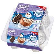 Шоколадные яйца с кремом и печеньем Milka Snowboolls Oreo 112 гр, фото 1