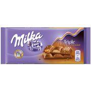 Молочный шоколад с тремя видами карамельной начинки Milka Triple Caramel 90 гр, фото 1