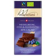 Горький шоколад с черникой, амарантом и чиа Maestrani 80 гр, фото 1