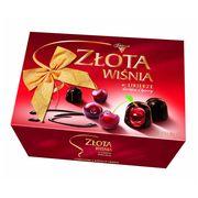 Zlota Wisnia Конфеты шоколадные с вишней в ликёре Solidanosc коробка 306 гр, фото 1