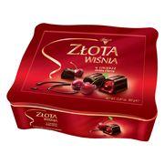 Zlota Wisnia Конфеты шоколадные с вишней в ликёре Solidarnosc коробка жесть 365 гр, фото 1