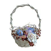 Пасхальный сувенир корзинка с шоколадными яйцами La Suissa 100 гр, фото 1