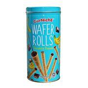 Вафельные трубочки Шоколад и Банан Corniche банка 250 гр, фото 1