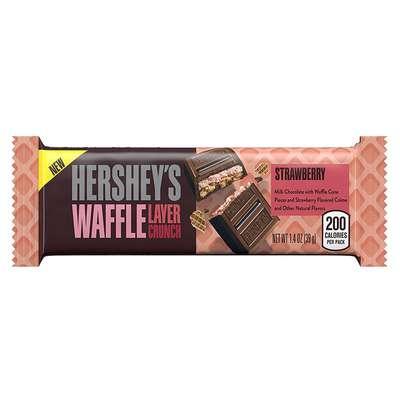 Батончик клубника с вафельным слоем Hershey's Waffle Layer Crunch Strawberry Bar 39 гр, фото 1