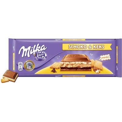 Большой молочный шоколад с бисквитным печеньем Milka Choco Biscuit 300 гр, фото 1