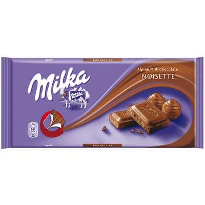 Молочный шоколад с кремом из фундука Milka Noisette 100 гр, фото 1