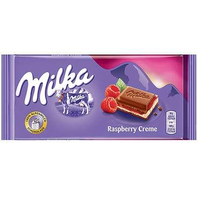 Альпийский молочный шоколад с малиновым кремом Milka Raspberry Cream 100 гр, фото 1