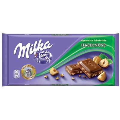 Молочный шоколад с дробленным фундуком Milka Hazelnuts 100 гр, фото 1
