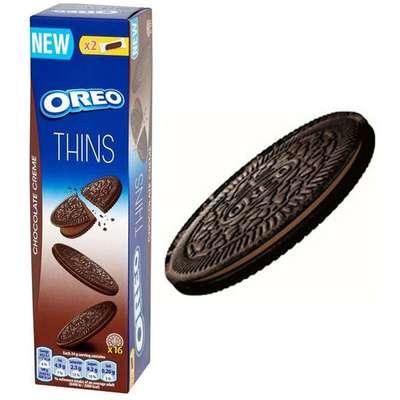 Тонкое шоколадное печенье с шоколадной начинкой Oreo Crispy&Thin Chocolate Creme 96 гр, фото 2
