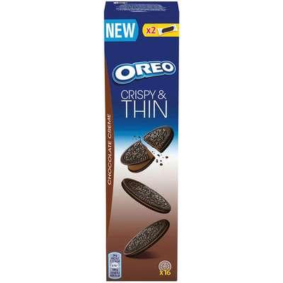 Тонкое шоколадное печенье с шоколадной начинкой Oreo Crispy&Thin Chocolate Creme 96 гр, фото 1