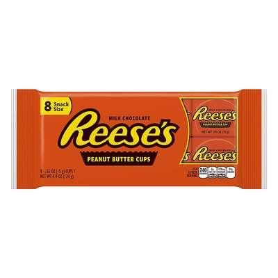Шоколадные тарталетки с арахисовым маслом Reese's Peanut Butter Cups 8 Snack Size 124 гр, фото 1