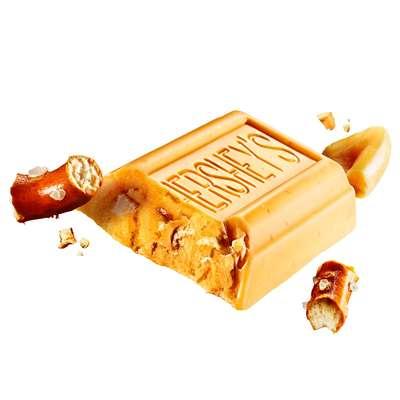 Карамельный крем шоколад соленые арахис и крендельки Hershey's Gold Peanuts & Pretzels 39 гр, фото 2
