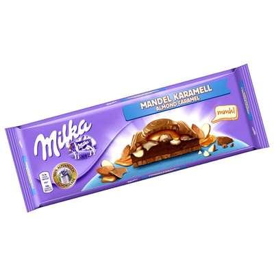 Большая шоколадка с миндалем в карамели Milka Almond Caramel 300 гр, фото 1