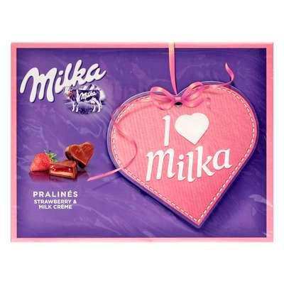 Подарочные конфеты с клубничной начинкой Milka I Love 110 гр, фото 1
