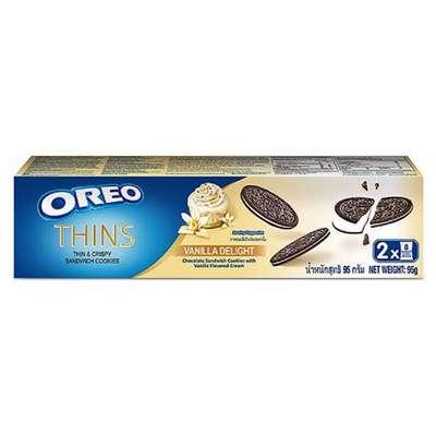 Тонкое печенье с ванильным кремом Oreo Thin&Crispy Sandwich Cookies Vanilla Delight 95 гр, фото 1