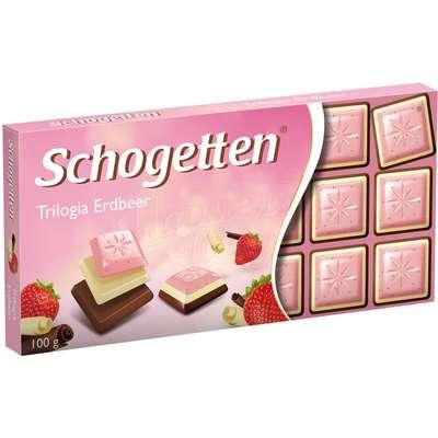 Шоколадная плитка Трилогия Клубника Schogetten 100 гр, фото 1