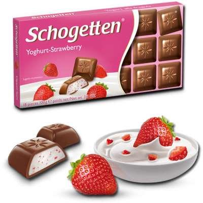 Шоколадная плитка Йогурт-Клубника Schogetten 100 гр, фото 1
