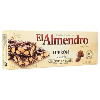 Хрустящий миндальный туррон с кунжутом Caramel Turron El Almendro 75 гр, фото 2
