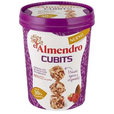 Кубики миндаль 30% и злаки с белым шоколадом и малиной El Almendro 120 гр, фото 1