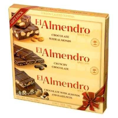Ассорти 3 вида шоколадного туррона в подарочной упаковке El Almendro 300 гр, фото 1