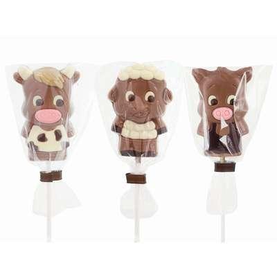 Фигурный молочный шоколад на палочке Веселая ферма Belfine 35 гр x 21 шт, фото 3