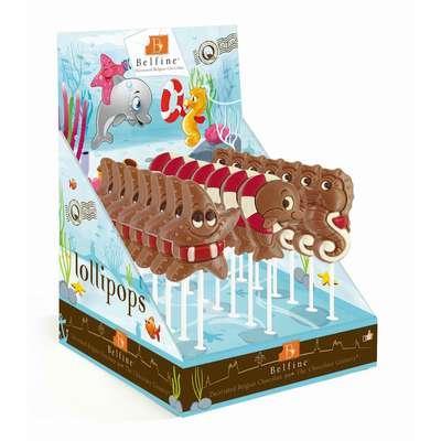 Молочный фигурный шоколад на палочке Морская коллекция Belfine 30 гр x 21 шт, фото 1