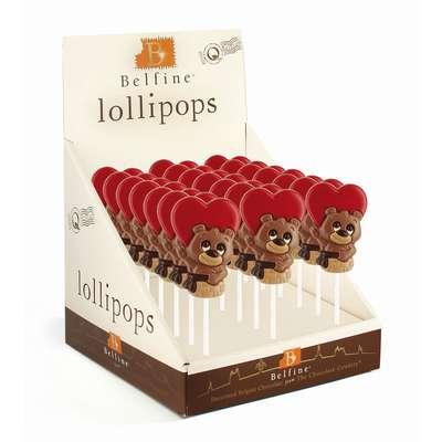 Фигурный молочный шоколад на палочке Медвежонок в корзинке Belfine 35 гр x 21 шт, фото 1