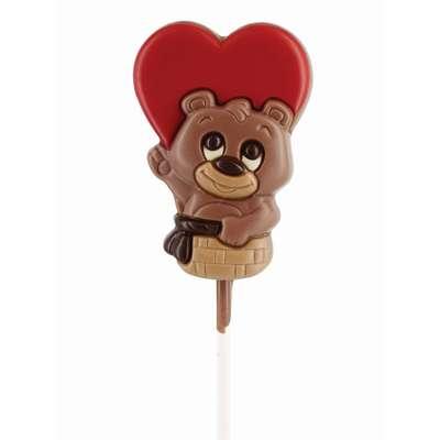 Фигурный молочный шоколад на палочке Медвежонок в корзинке Belfine 35 гр x 21 шт, фото 2