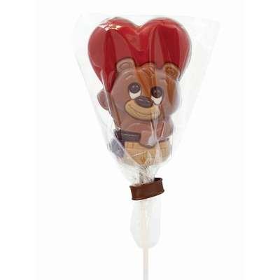 Фигурный молочный шоколад на палочке Медвежонок в корзинке Belfine 35 гр x 21 шт, фото 3