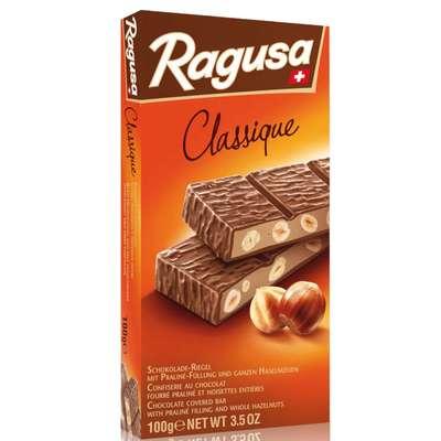 Молочный шоколад с трюфельной начинкой и целыми лесными орехами Ragusa 100 гр, фото 1