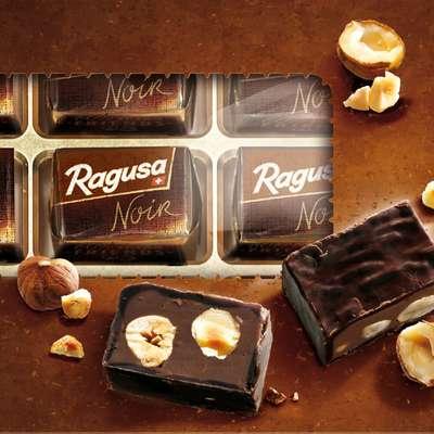 Горький шоколад с трюфельной начинкой и целыми лесными орехами Ragusa Noir 100 гр, фото 3