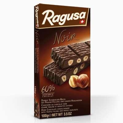 Горький шоколад с трюфельной начинкой и целыми лесными орехами Ragusa Noir 100 гр, фото 2