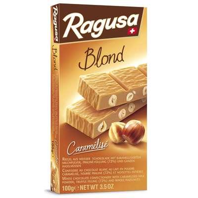Белый шоколад с трюфельной начинкой и целыми лесными орехами Ragusa Blond 100 гр, фото 2