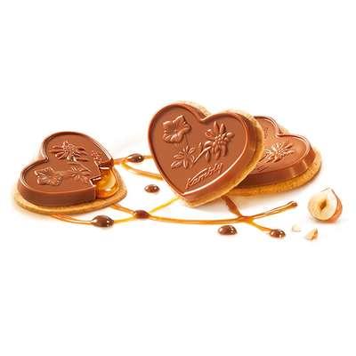 Печенье с фундуком карамелью и молочным шоколадом Coeur aux noisettes Kambly 100 гр, фото 3
