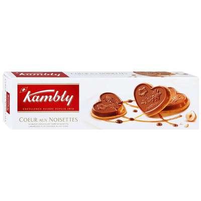 Печенье с фундуком карамелью и молочным шоколадом Coeur aux noisettes Kambly 100 гр, фото 1
