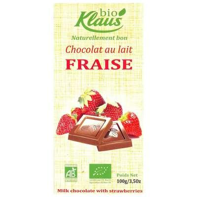Шоколад молочный с клубникой Био Klaus 100 гр, фото 1