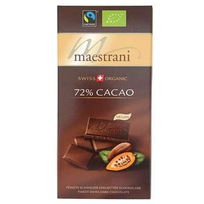 Горький шоколад 72% какао Maestrani 80 гр, фото 1