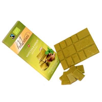 Белый шоколад с зеленым чаем Матча и мятой Maestrani 80 гр, фото 2