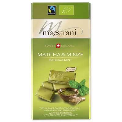 Белый шоколад с зеленым чаем Матча и мятой Maestrani 80 гр, фото 1