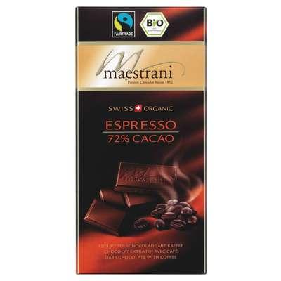 Горький шоколад 72% какао с кофе Maestrani 80 гр, фото 1