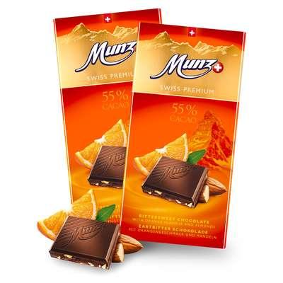 Горький шоколад с апельсином и миндалем Munz 100 гр, фото 2