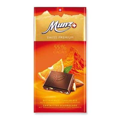 Горький шоколад с апельсином и миндалем Munz 100 гр, фото 1