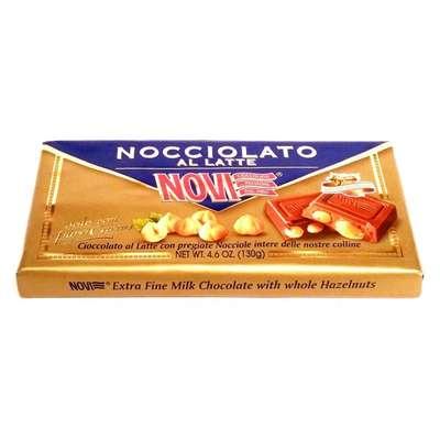 Молочный шоколад с целыми лесными орехами Novi 130 гр, фото 1