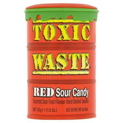 Самые кислые конфеты в мире леденцы Toxic Waste красная бочка 42 гр, фото 2