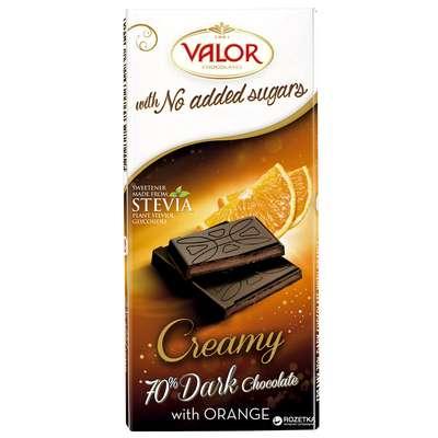Горький шоколад 70% с апельсиновой начинкой без сахара Valor 100 гр, фото 2