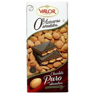 Темный шоколад с миндалем без сахара Valor 150 гр, фото 2