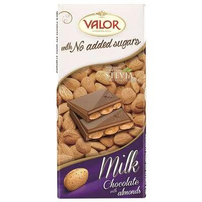 Молочный шоколад с миндалем без сахара Valor 150 гр, фото 2