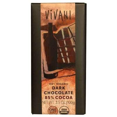 Шоколад органик горький 85% какао Vivani 100 гр, фото 1